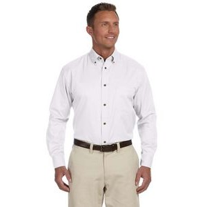 Harriton Men's Tall Easy Blend? Long-Sleeve Twill Shirt with Stain-Release
