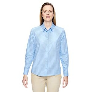 NORTH END Ladies' Align Wrinkle-Resistant Cotton Blend Dobby Vertical Striped Shirt