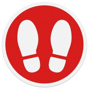 "Floor Graphics .007 Anti-Skid Vinyl Stock Red Circle 12.5"" with White Shoe Print"