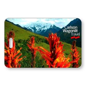 "Lenticular Luggage Tag .040 (2.625"" x 4.06"") Custom Horizontal 3D Front Imprint Clear Pocket Back"