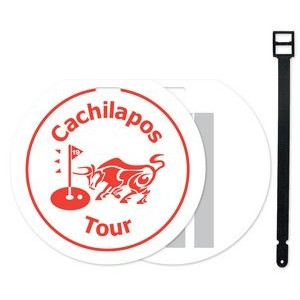 "Jumbo Round Golf Bag Tag (4 3/16"") Screen-Printed with Write on Surface"