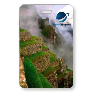 "Lenticular Luggage Tag .040 (2.625"" x 4.06"") Custom Vertical 3D Front Imprint Clear Pocket Back"