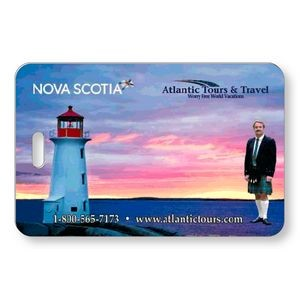"Lenticular Luggage Tag .040 (2.625"" x 4.06"") Custom Horizontal Flip Front Imprint Clear Pocket Back"