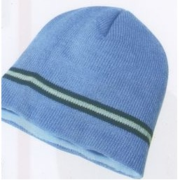 Acrylic Knit Toque Cap with Multiple Stripes