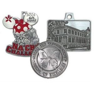 "Custom Spin Cast Pewter Medal (2¾"")"