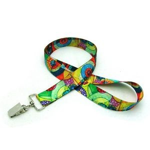 "7/8"" Digitally Sublimated Lanyard w/ Bulldog Clip"