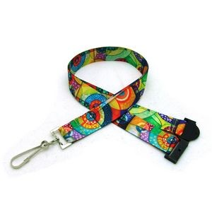 "7/8"" Digitally Sublimated Lanyard w/ Sew on Breakaway"
