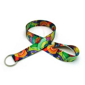 "7/8"" Digitally Sublimated Lanyard w/ Keyring"