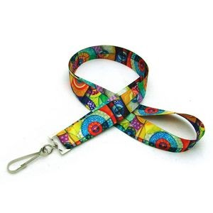 "7/8"" Digitally Sublimated Lanyard w/ J Hook"