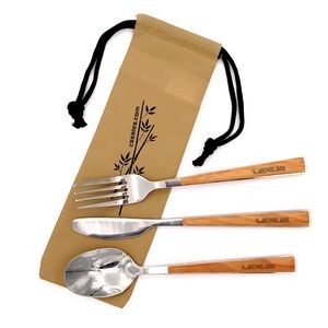 Faux Wood Grain 18/8 Cutlery Set In Pouch