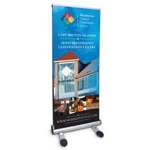 "33.5"" w x 82"" h Double Sided Outdoor Retractable Banner & Stand"