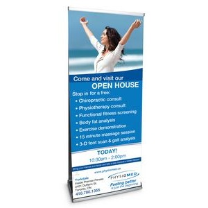 "33.5"" w x 82"" h Double Sided Outdoor Retractable Banner & Stand . Water Base"