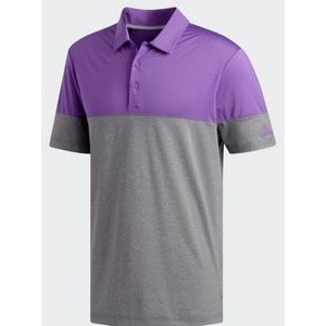 Adidas® Ultimate365 Heather Blocked Polo (Gray Five Heather/Active Purple)
